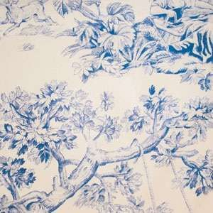 Toile de joie in blue and cream adds romance.