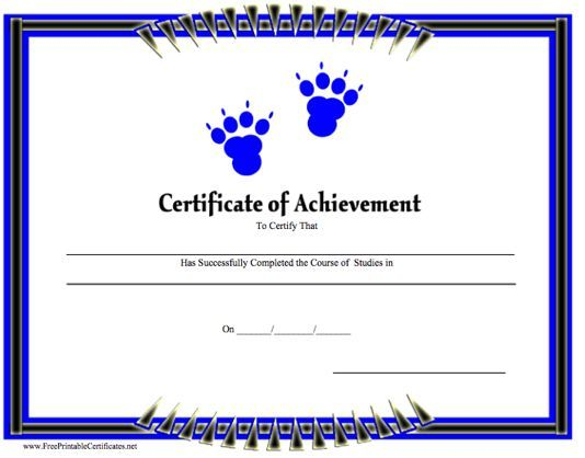 a printable certificate of achievement with blue paw prints free to