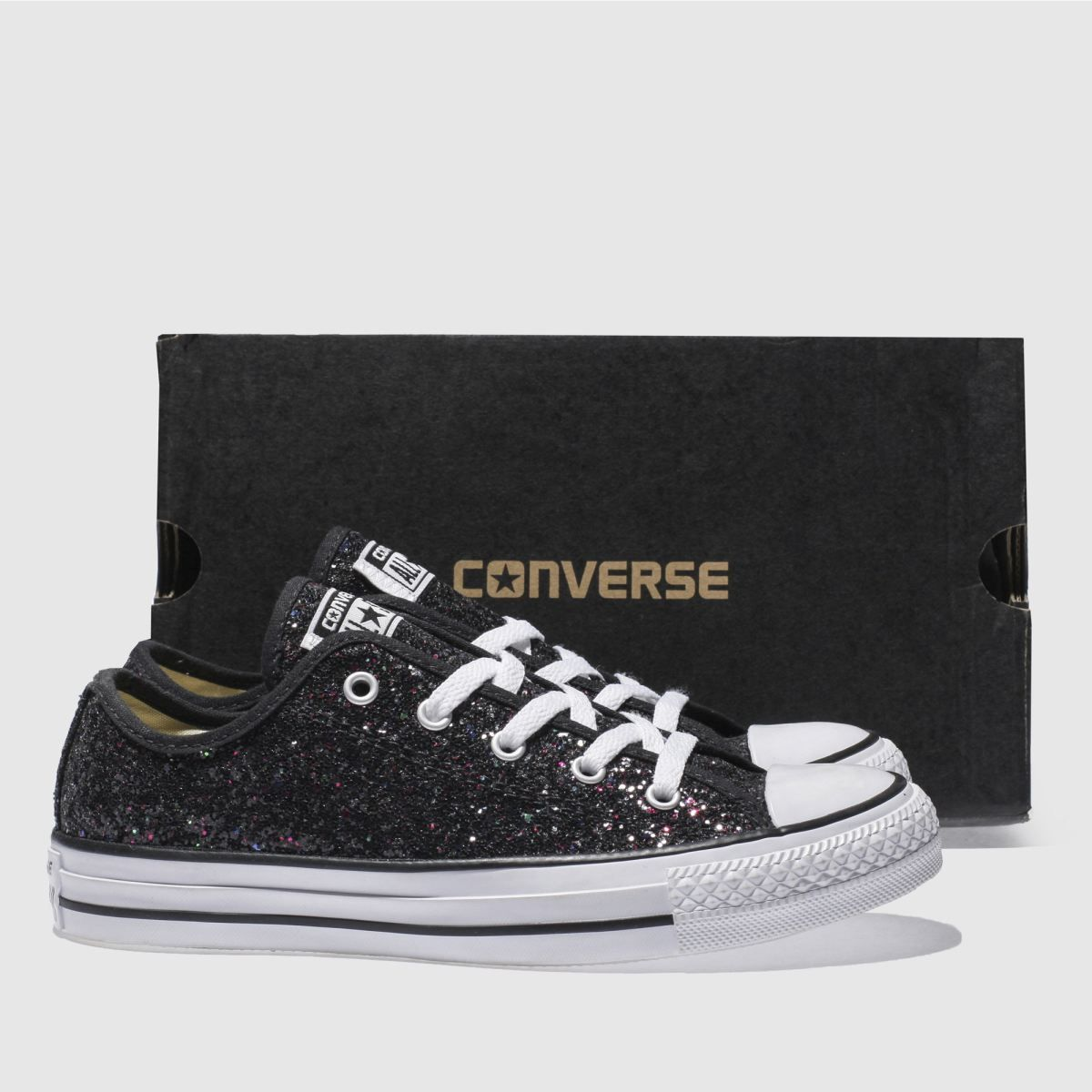 converse black & purple all star glitter ox trainers | style <3 ...