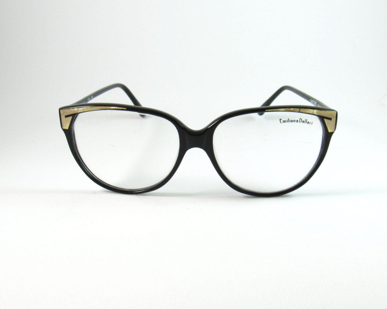 Emiliana Dallari Mod:Castore, Vintage 80s Black/ Gold Cat Eye ...