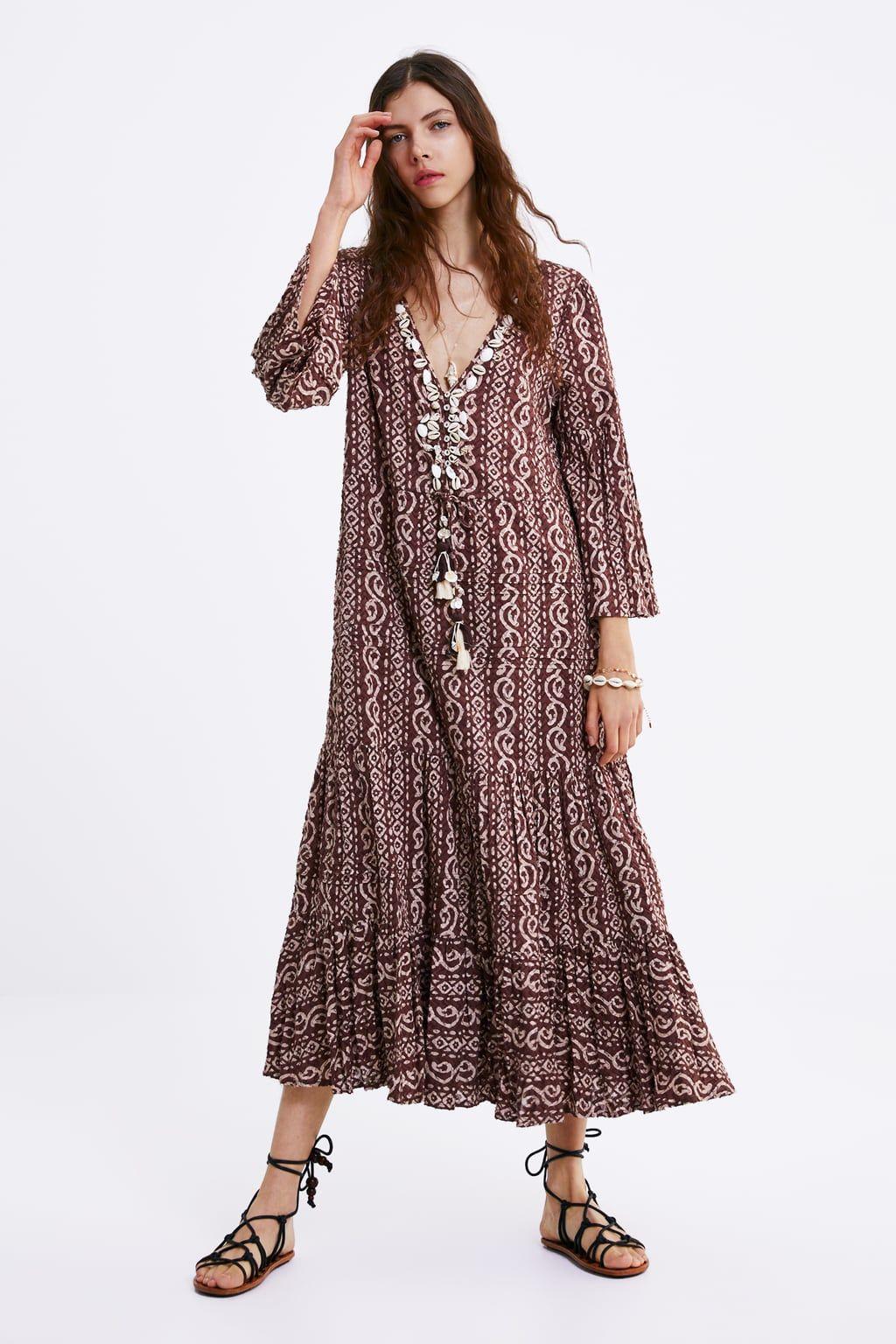 zara - mujer - vestido estampado conchas | bedruckte kleider