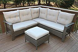 Oliver Smith Large 4 Pc High Back Rattan Wiker Sectional Sofa
