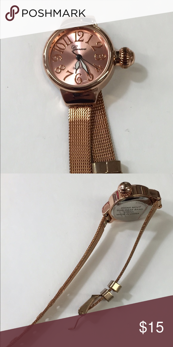 Rose gold with mesh flexi band Small size rose gold fashion wear Accessories Watches