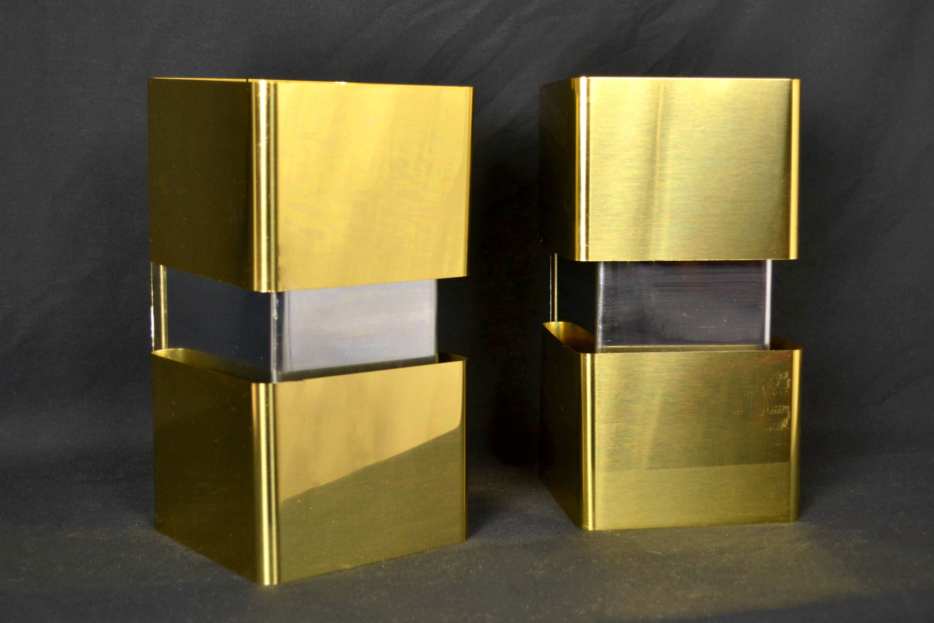 Pair modern wall sconces brass and chrome double light by