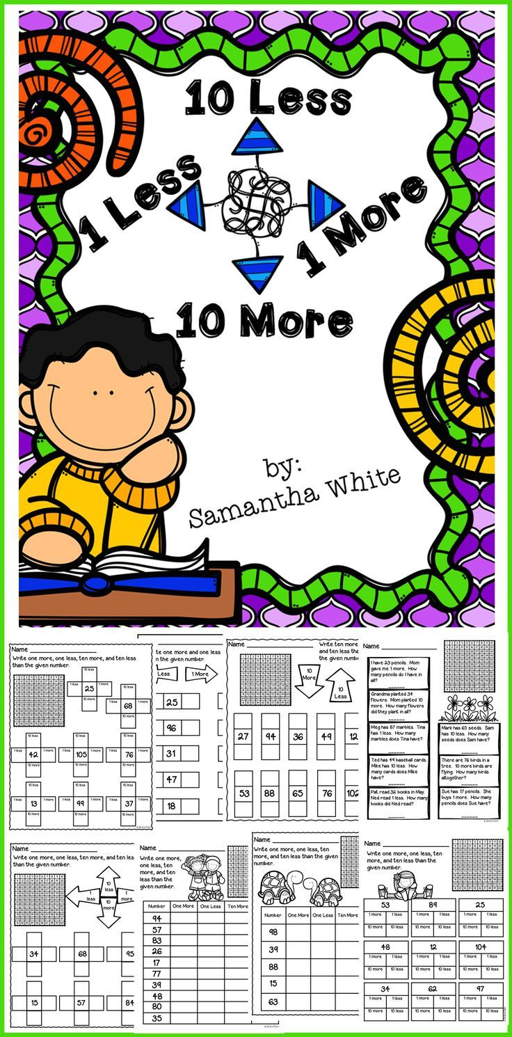 One More One Less Ten More Ten Less This Download Contains 24 Pages To Provide Your Students Practice With On 120 Chart 1st Grade Math Classroom Activities