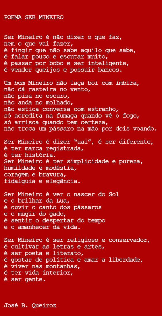 Poema Ser Mineiro Do Escritor Jose Batista De Queiroz Poema