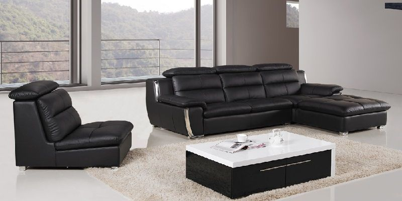 Black Leather L Shaped Sofa