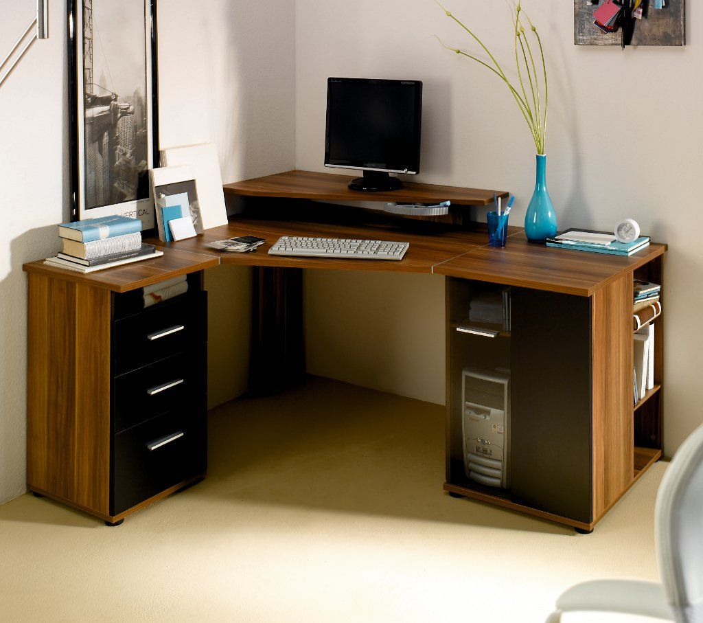 Home Office Corner Desk On Corner Desk In Walnut And Black Modern Corner Desks Ideas For Small Small Corner Desk Home Office Furniture Desk Modern Corner Desk
