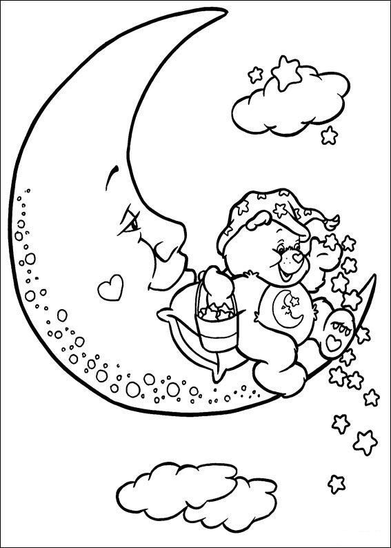 coloring pages night | coloring page Care Bears - Good night | Care Bears | Moon ...
