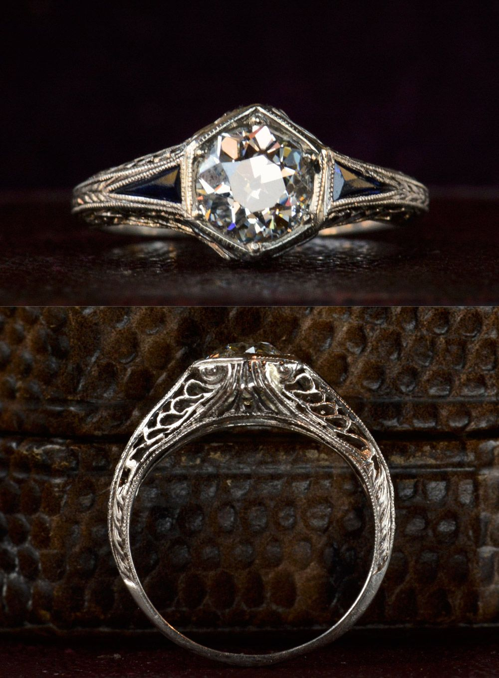 Old european cut elegant diamond solitaire ring in platinum and 18k - 1920s Art Deco Hexagonal Filigree Engagement Ring 0 95ct Old European Cut Diamond In
