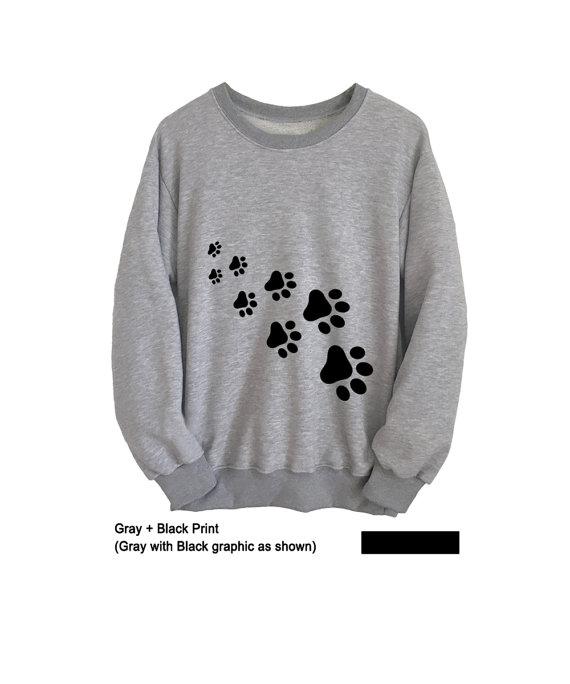 86d7f312c Cat Shirt Pet Gift Cute Sweatshirt Cat Paw Print Womens Long Sleeve Tee  Mens T-Shirts Unisex Crewnec