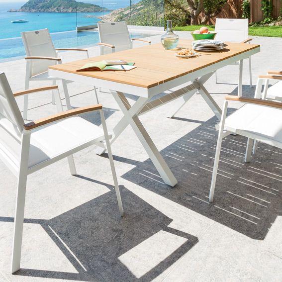 Salon de jardin Nedra Métal et Composite Blanc/Naturel - 4 à 6 places