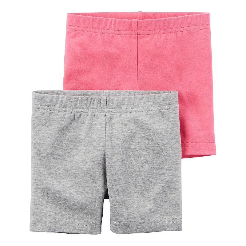 Carters Toddler Girls 2-pk Heather Pull-On Shorts 4T Pink//grey