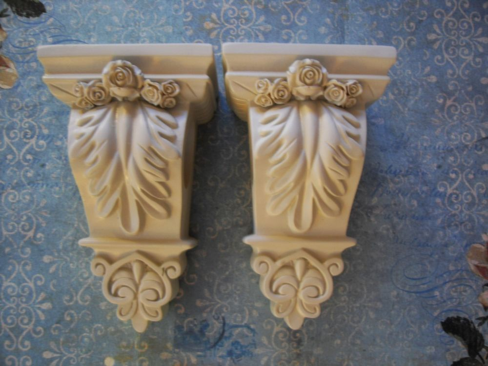 Pair Pretty Curtain Rod Sconces With Roses French Vintage Style