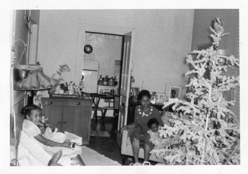 Photograph Snapshot Vintage Black and White: Family Christmas Tree Girl 1960's
