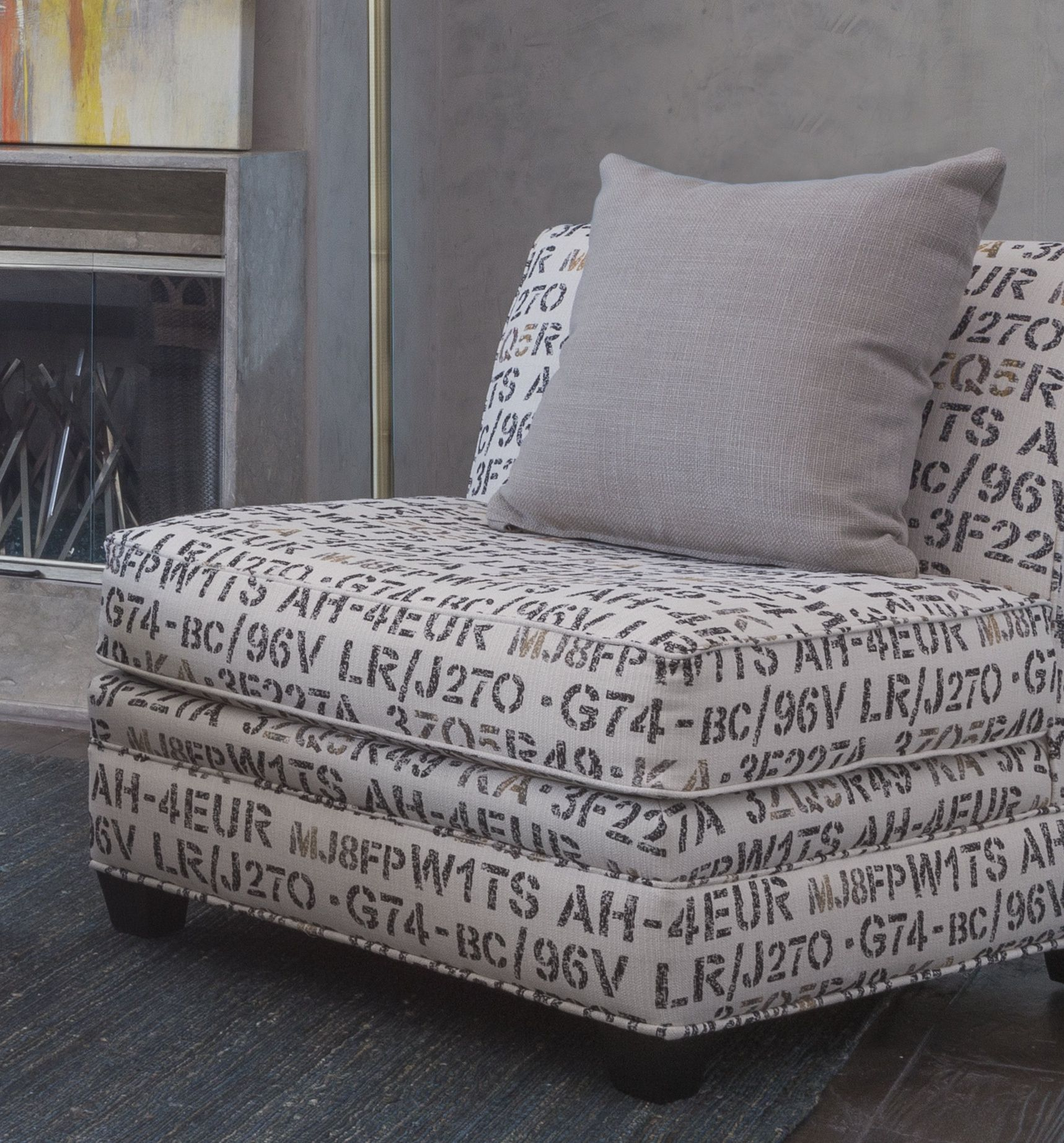 Amazing An Enigmatic Arrangement Of Numbers, Letters And Symbols Adds Interest To  This Armless Accent Chair
