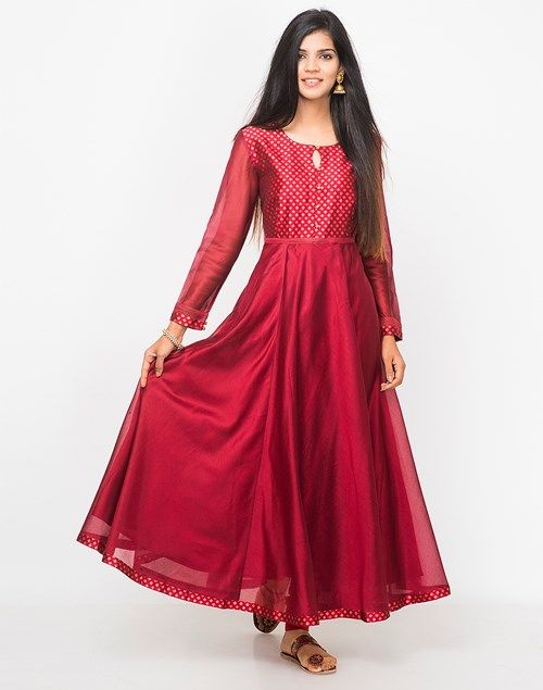 3895a54cae Buy Fabindia Maroon Cotton Silk Cutwork Slim Fit Long Kurta online -  Fabindia.com. Find this Pin and more on Women's Fashion ...