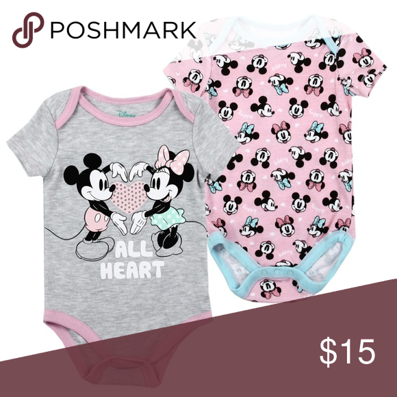 2 Pack Baby Girls Mickey Minnie Bodysuit 3-6 Months Creeper Outfit One Piece