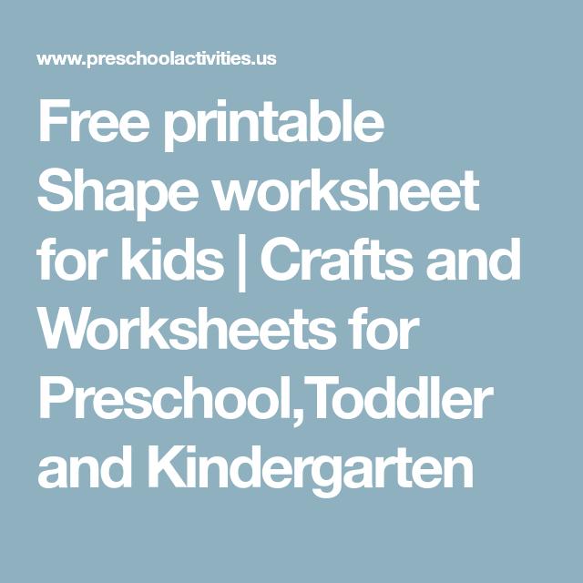 Free printable Shape worksheet for kids | Crafts and Worksheets for ...