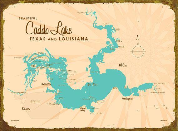 Caddo Lake Map Metal Sign Lakebound Maps Map Caddo Lake Texas
