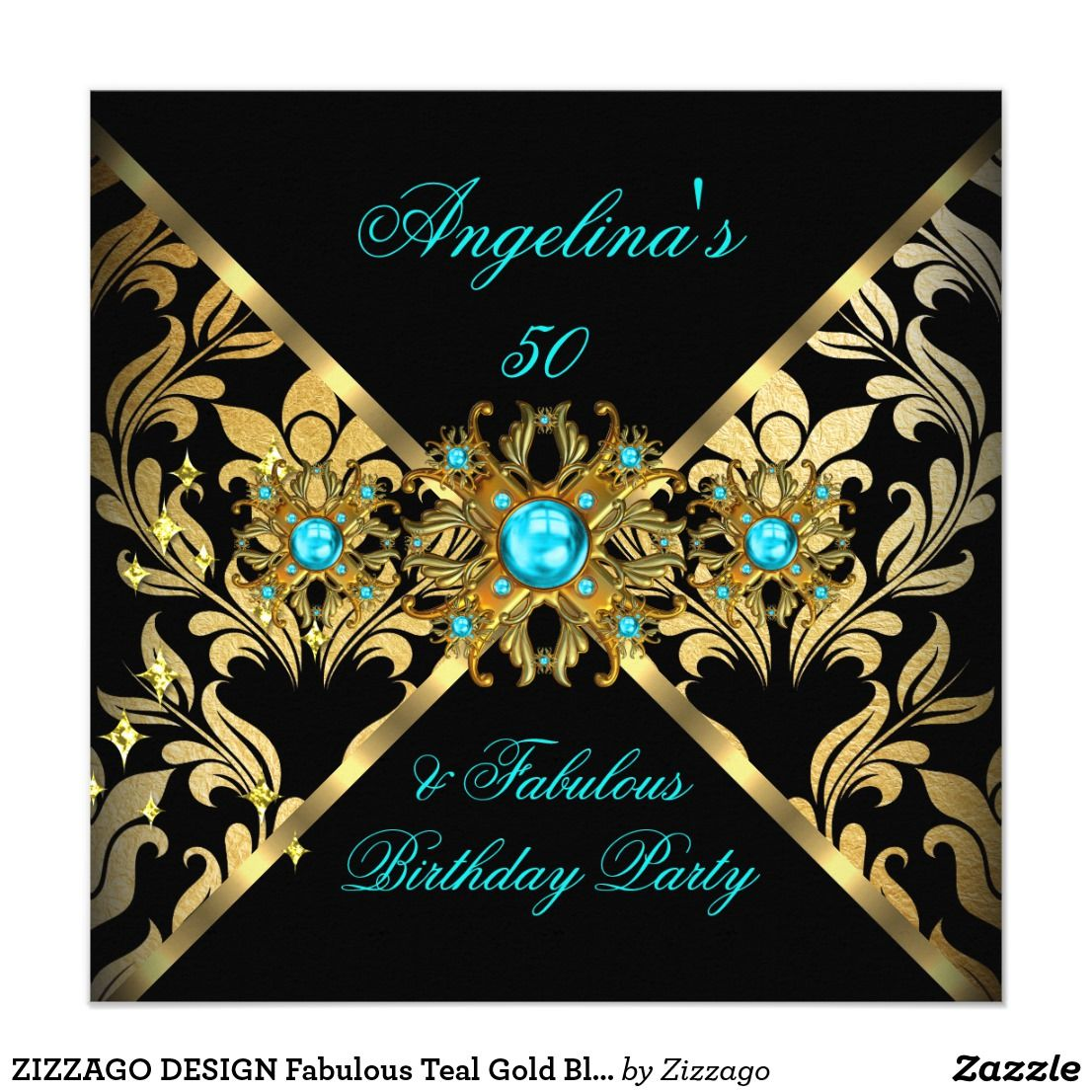ZIZZAGO DESIGN Fabulous Teal Gold Black Damask Invitation | Zazzle.com |  Elegant birthday party, 50th birthday invitations, Blue birthday parties