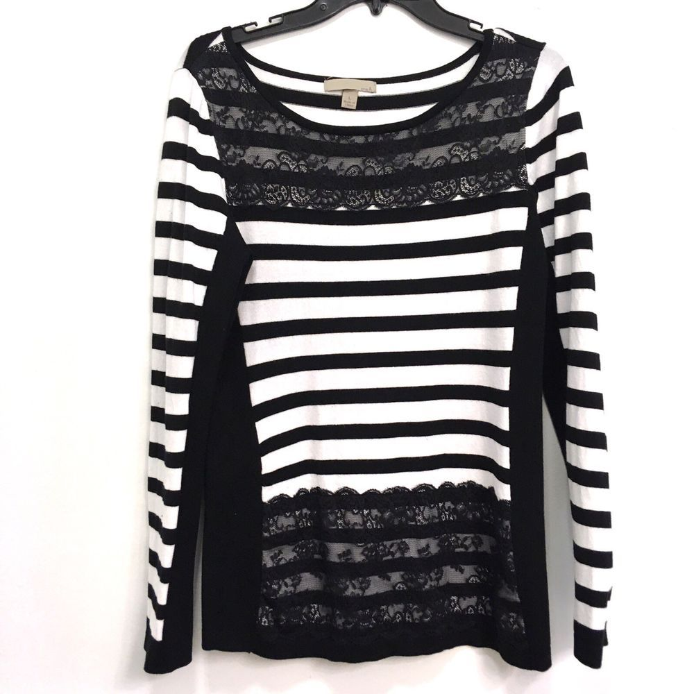 Onea Black White Stripe Sweater Lace Size Large Fashion Clothing Shoes Accessories Womensclothing Sweaters Sweaters Stripe Sweater Black White Stripes