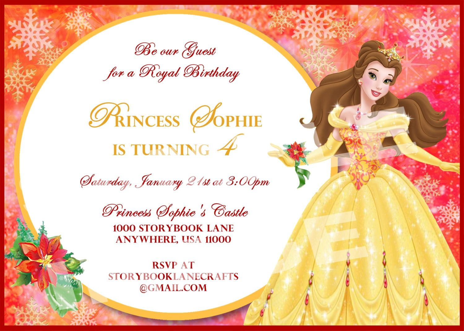 Beauty and the Beast Invitation Belle Invitation