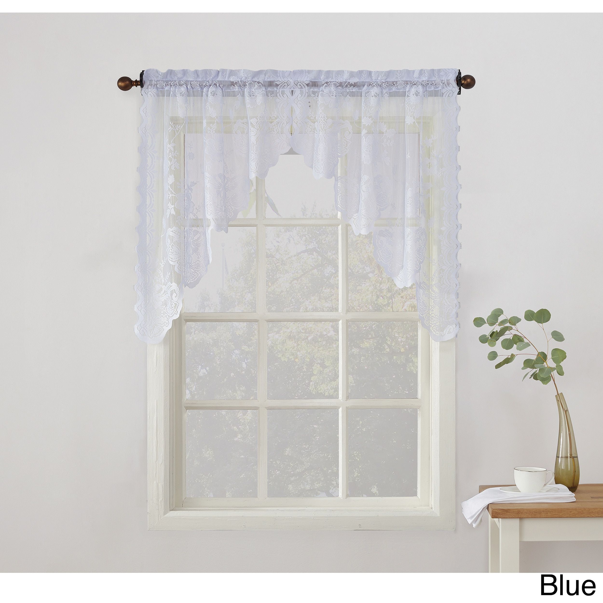 No. 918 Alison Sheer Lace Kitchen Swag Curtain Pair | Products ...