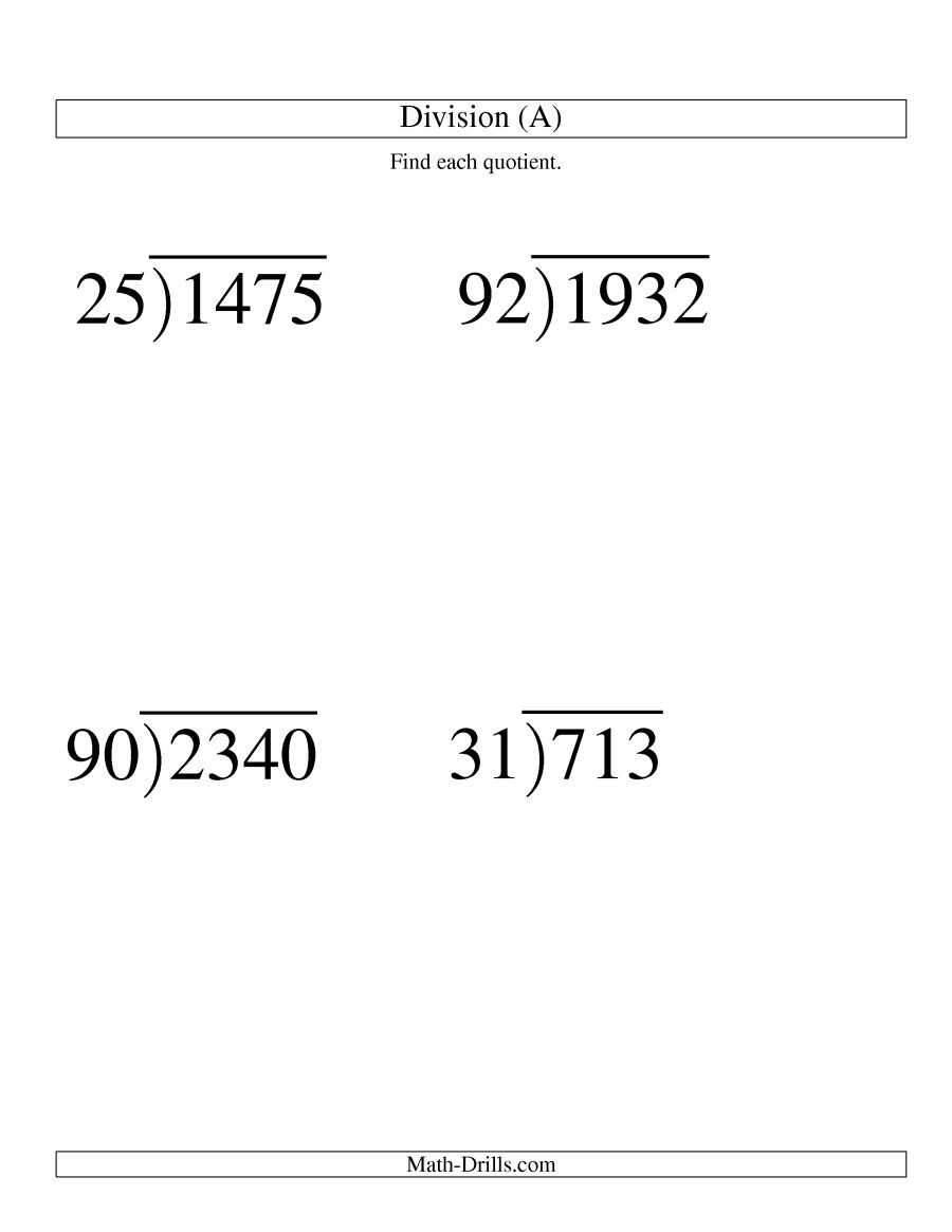 The Long Division Two Digit Divisor And A Two Digit Quotient With No Remainder Large Print A Math Wo Math Work Free Math Worksheets 5th Grade Worksheets