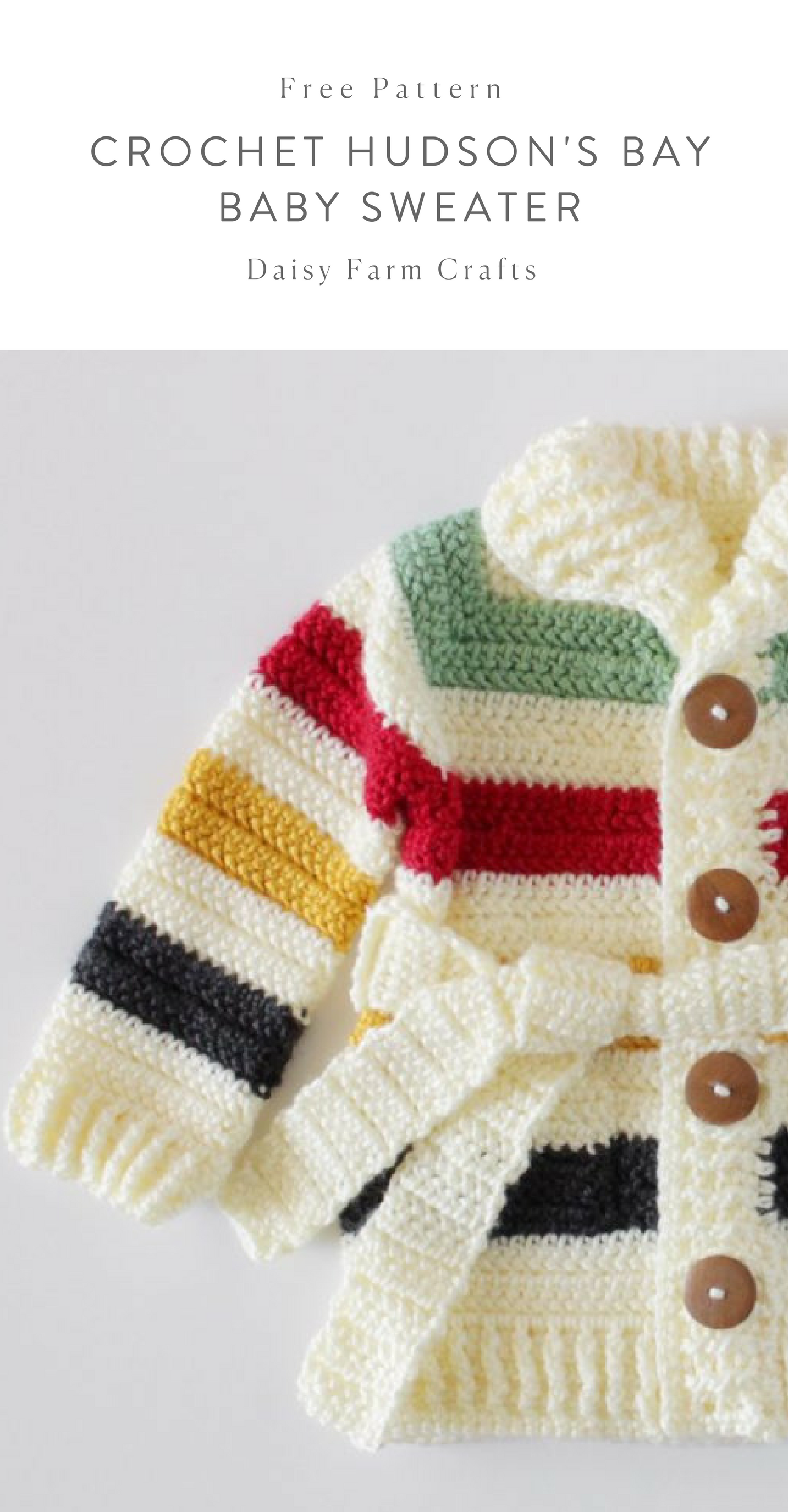 Free Pattern - Crochet Hudson\'s Bay Baby Sweater #crochet | Baby ...