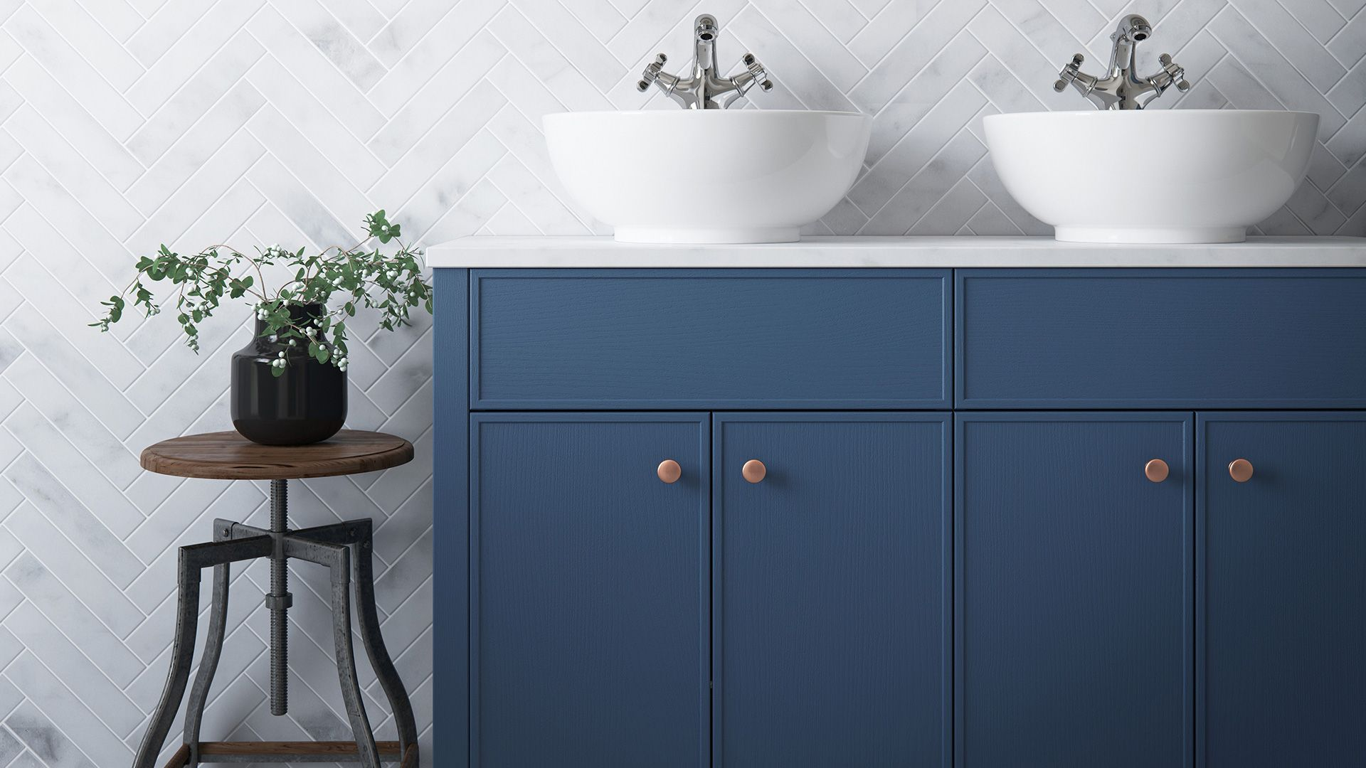 Blue Bathroom Vanity Unit White Marble Herringbone Tiles Vanity Units Blue Bathroom White Herringbone Tile Bathroom