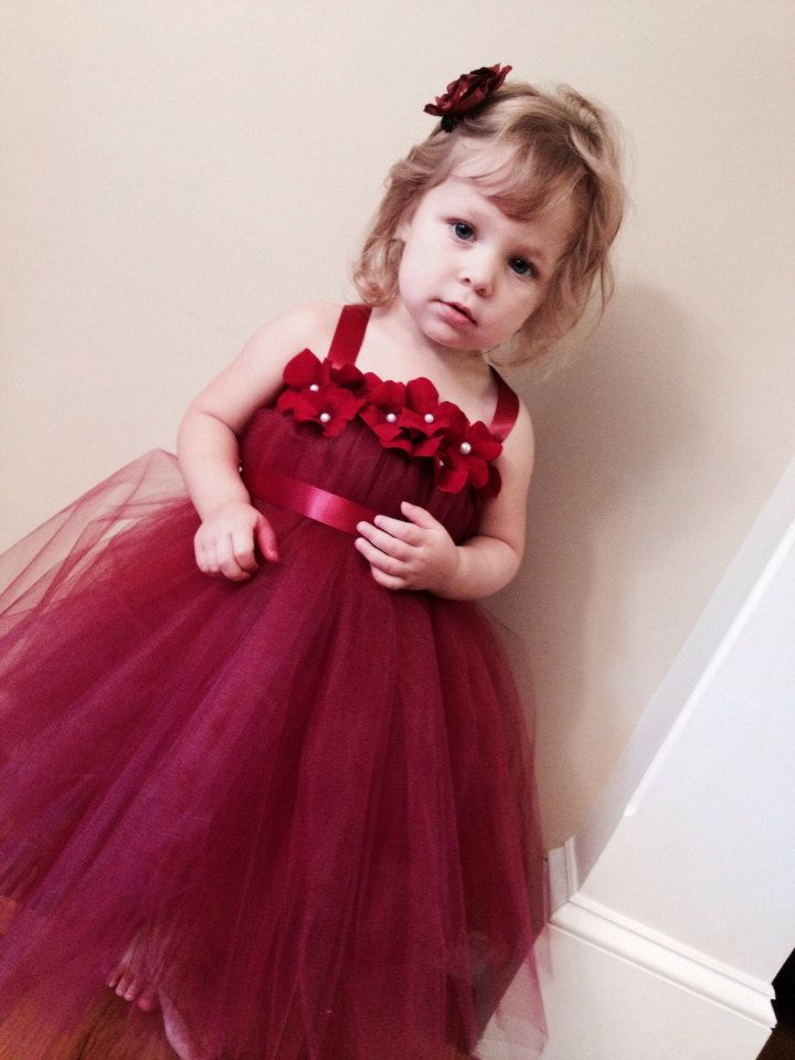 Simple Burgundy red wedding flower girl special occasion dress hydrangea and pearl flower tulle tutu dress