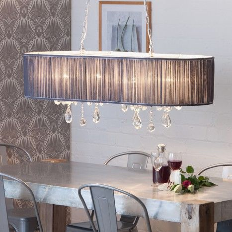 L\'amour 8 Light Double Chandelier in Pleated Shade - Grey from ...