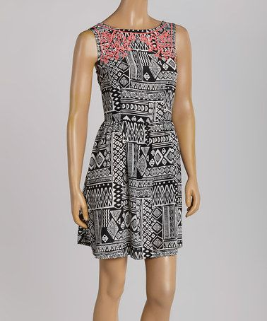 Another great find on #zulily! Black & Coral Tribal Sleeveless Dress #zulilyfinds