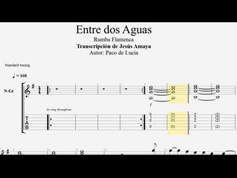 Entre Dos Aguas Paco De Lucía Tablatura Por Jesús Amaya Youtube Paco De Lucia Acordes De Guitarra Notas Musicales