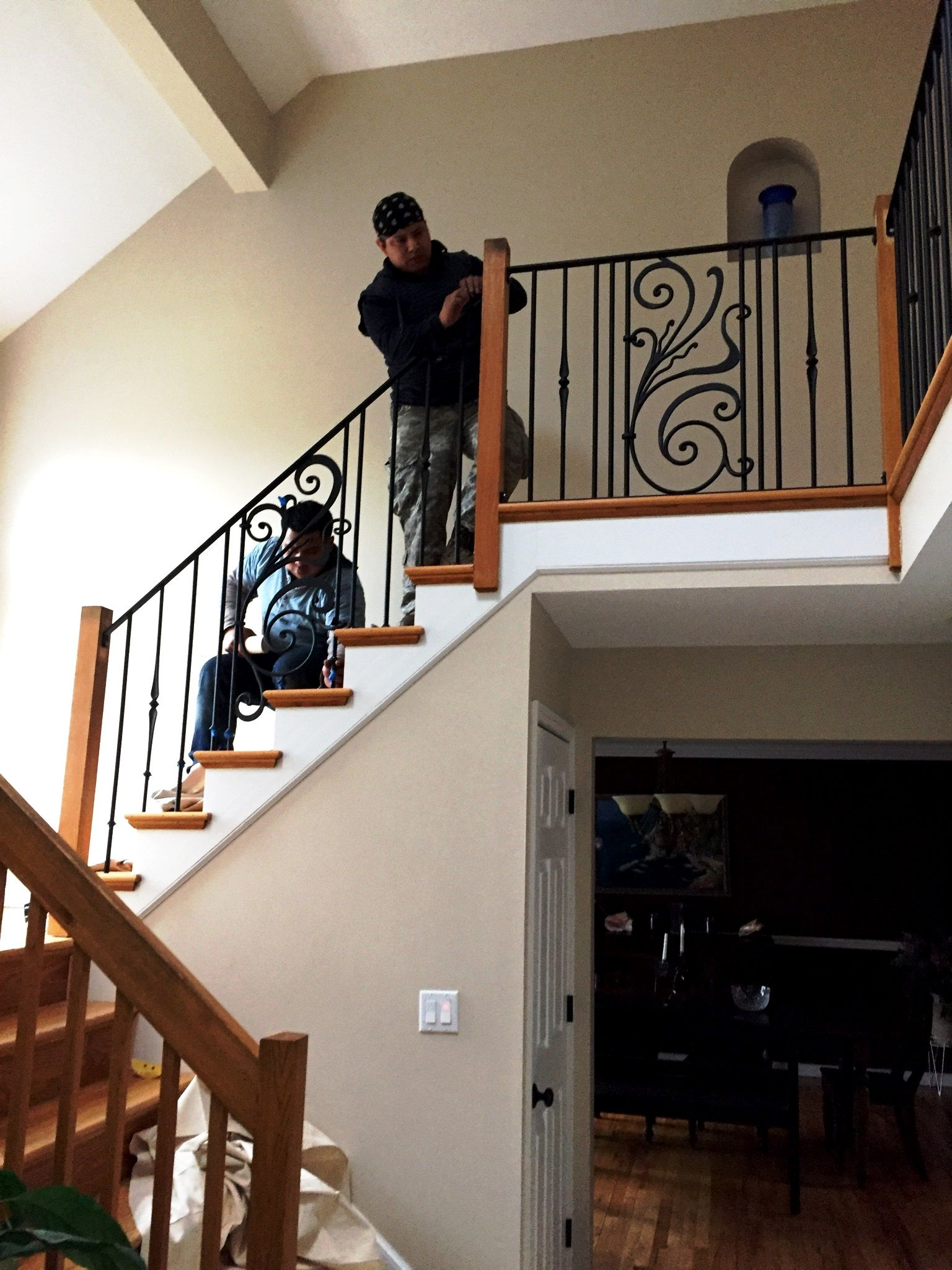 Interior Decorative Wrought Iron Railings Escalera   Rod Iron Interior Railings   Iron Work   White   Steel   Route   Staircase