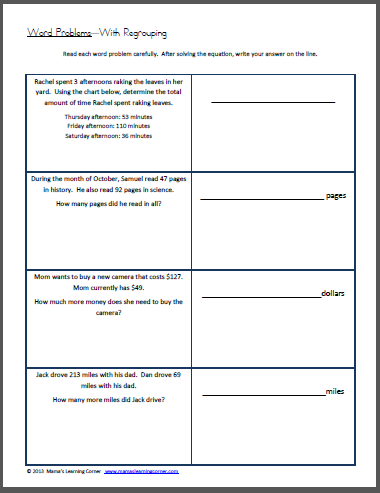 Word Problems with Regrouping Worksheet | Words, Free worksheets ...