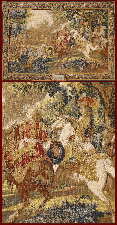 """Tapestry De Rambouilletcm 184 x 125ft 6'0 x 4'1 Cod:: 141436540950 - Polychrome reproduction on textile of """"Histoire du Roi: le canal de Bruges"""""""