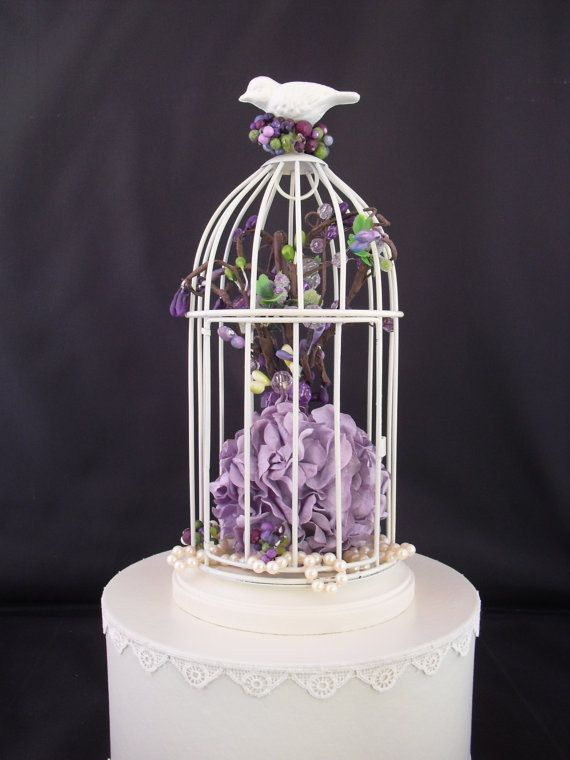 Birdcage Fl Cake Topper With Pearls By Flgembouquets 45 00