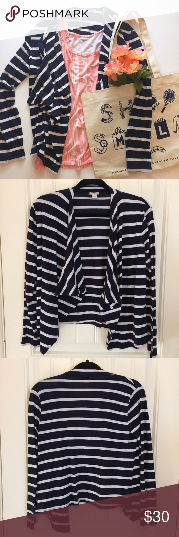 J. Crew Striped Open Jersey Cardigan J. Crew navy and white ...