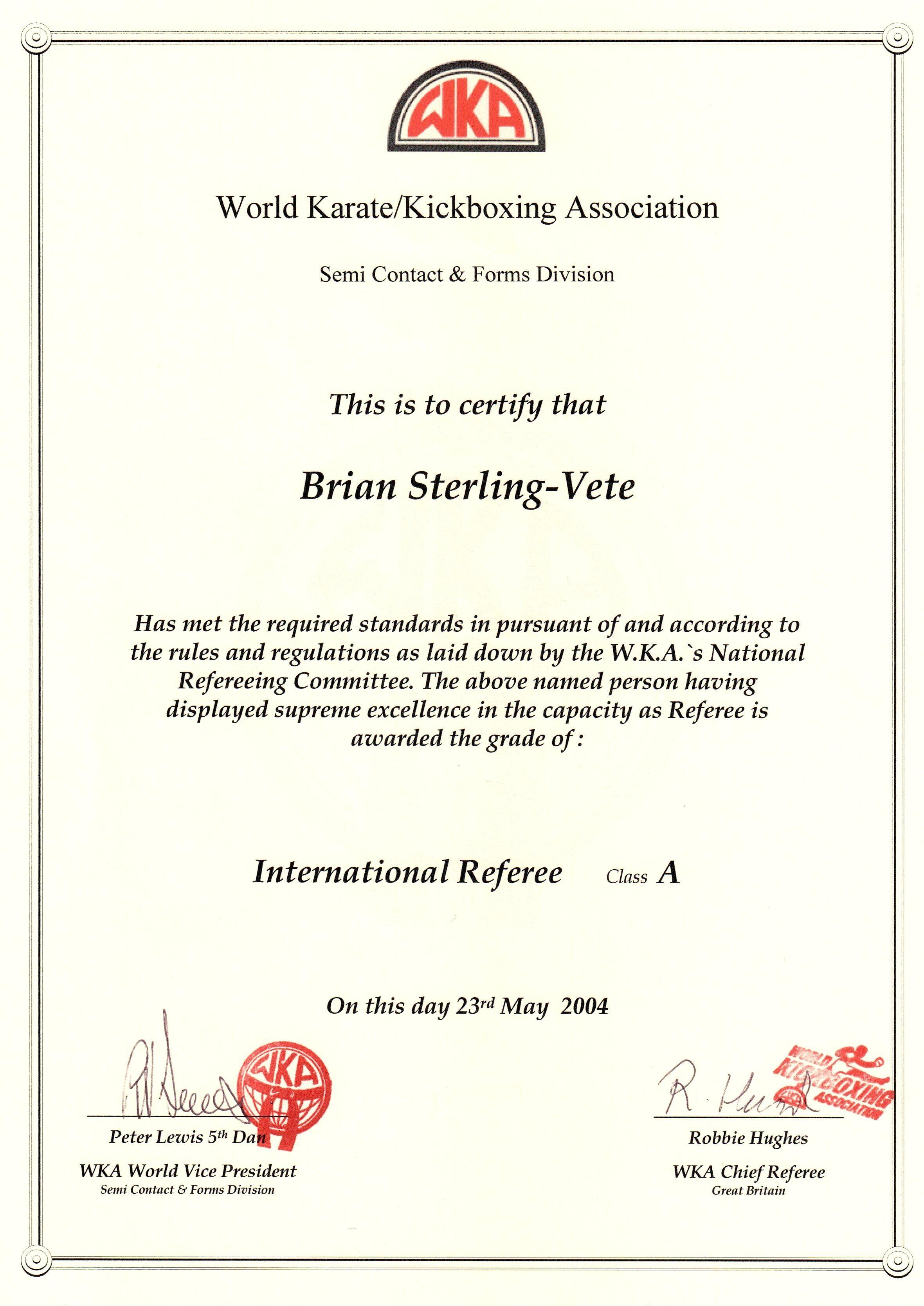 World Karate And Kickboxing Association International Referee