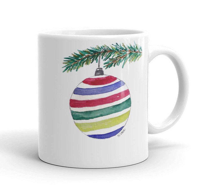 Holiday Mug Christmas Coffee Cup Ornament Watercolor Painting