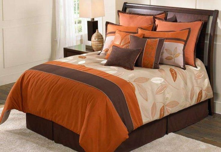 Awesome Autumn Bedroom With Brown Orange Stripe Comforter Set Color Theme