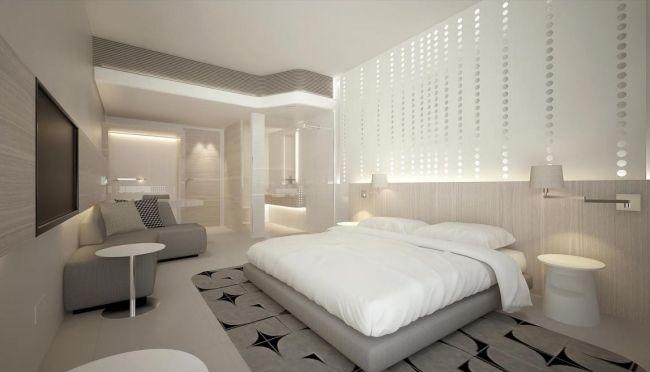 wohnideen schlafzimmer design minimalistisch grau glaswand punkte ...