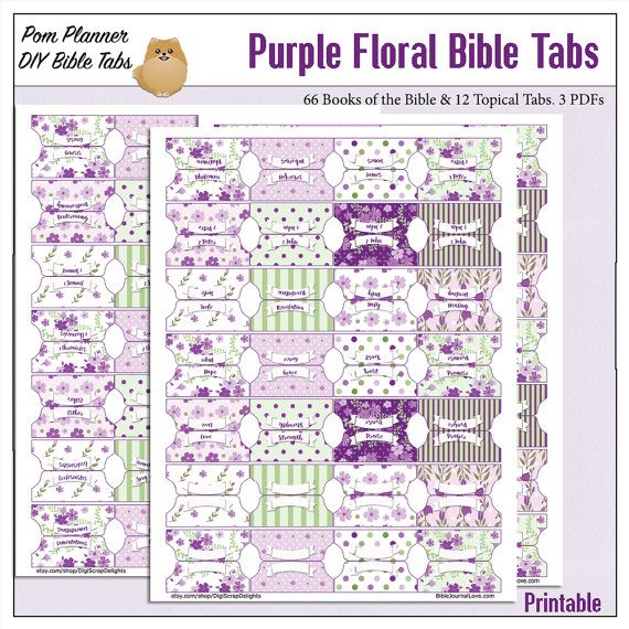 Purple Floral Bible Tabs for Bible Journalling / 66 Books of the