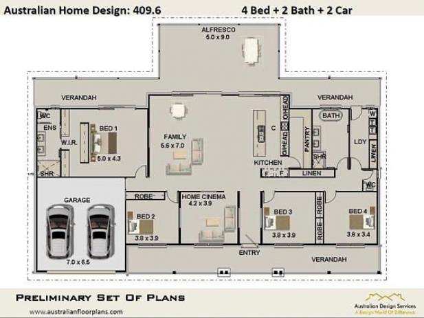 House Plan 409 6 4 Bedroom 2 Bathroom 2 Car Garage Home Plans In 2020 House Plans Australia House Plans House Plans For Sale