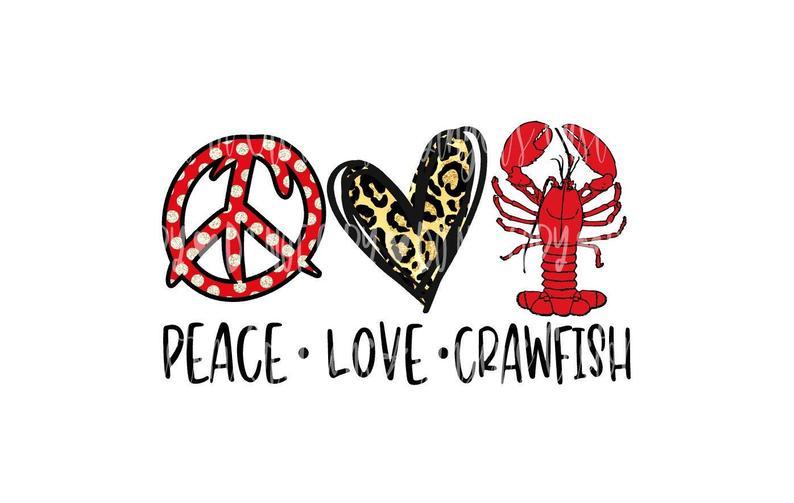 Download Peace Love Crawfish Sublimation Design Download PNG ...