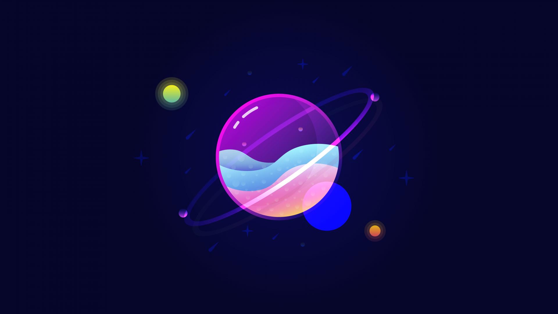 Solar System Planets Orbit Minimal Neon Saturn Amoled 4k 8k 10k 1440x2560 Wallpaper Disenos De Unas Walle