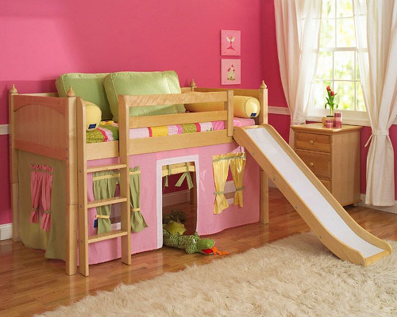 Maxtrix Low Loft Bed With Slide, Loft Bed Curtains Canada