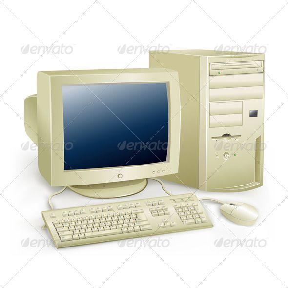 Retro Computer Computer Presentation Design Template Computer Vector